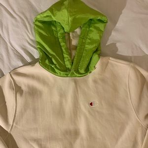 Champion reverse weave hoodie cream with green top